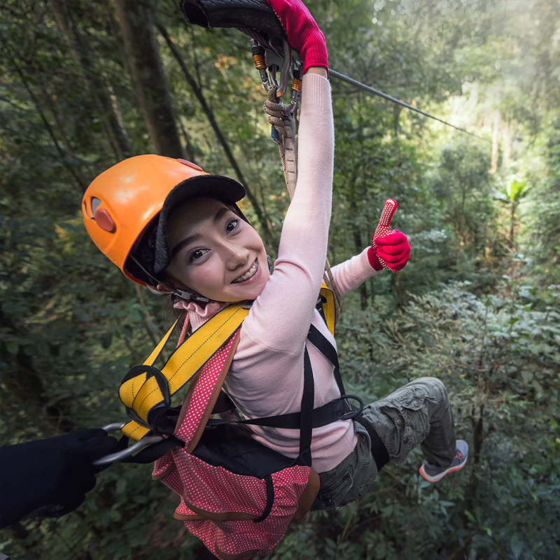 female guest on zipline